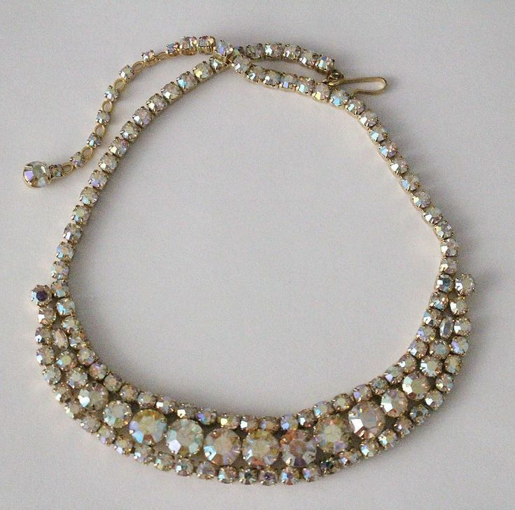 #456 PTS Unsigned Sherman  Aurora Borealis Swarovski Crystal Necklace Exclusively at Lee Caplan Vintage Collection on RubyLane
