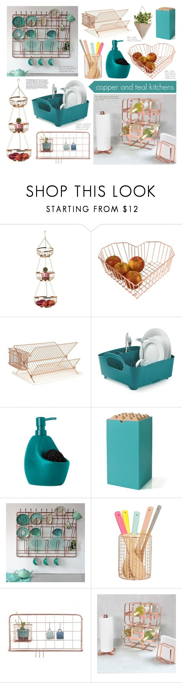"""Copper and Teal Kitchens"" by redcandyuk ❤ liked on Polyvore featuring interior, interiors, interior design, home, home decor, interior decorating, Umbra, Korridor, kitchen and modern"