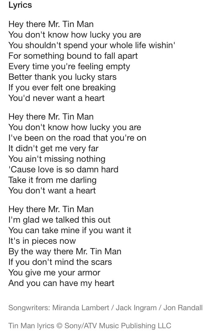 Tin Man- Miranda Lambert | Lyrics I love ♡ | Country song ...