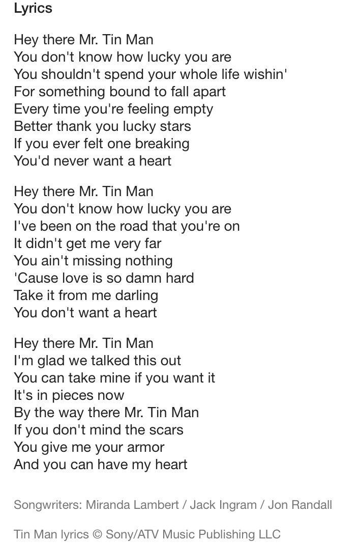 Tin Man- Miranda Lambert