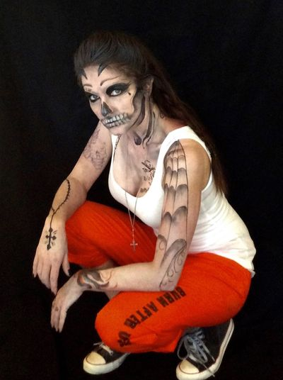 Please vote for this entry in SQUAD UP! SUICIDE SQUAD COSPLAY CONTEST! Halloween face painting, skull tattoo,  El Diablo, Day of the Dead