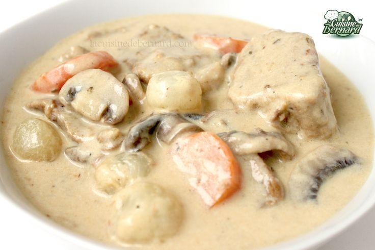 La Cuisine de Bernard: La Blanquette de Veau - C'est ma recette, avec quelques champignons de plus et pas de carottes...