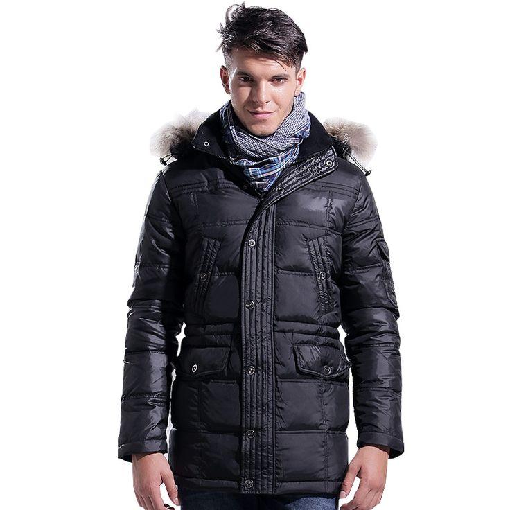 Lesmart мужская зимняя новое пальто белая утка вниз роскошный енот меховой воротник мода свободного покроя бизнес большой размер верхняя одежда