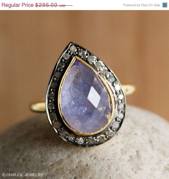 HOLIDAY SALE Violet Blue Tanzanite Gemstone Ring - Pave Diamonds Teardrop Ring - Heirloom Ring