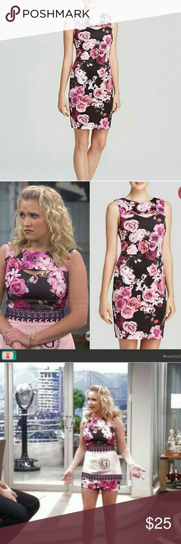 NWT Floral Bodycon dress (Aqua Bloomingdales) Aqua Cabbage Floral Scuba Body-con Dress worn by Emily Osment on Young & Hungry  Aqua is a brand exclusively sold at Bloomingdale's   Never worn, new with tags   Gorgeous and bold beautiful floral print. Neoprene type / scuba material  Back zipper Aqua Dresses Mini