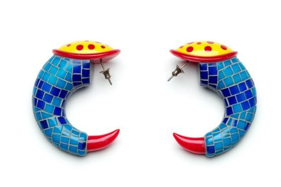 Peter Chang, British, born in 1944.  Earrings, 1991. DIMENSIONS  Overall: 6.4 x 1.6 x 5.1 cm (2 1/2 x 5/8 x 2 in.) MEDIUM OR TECHNIQUE Acrylic, carved and inlaid.