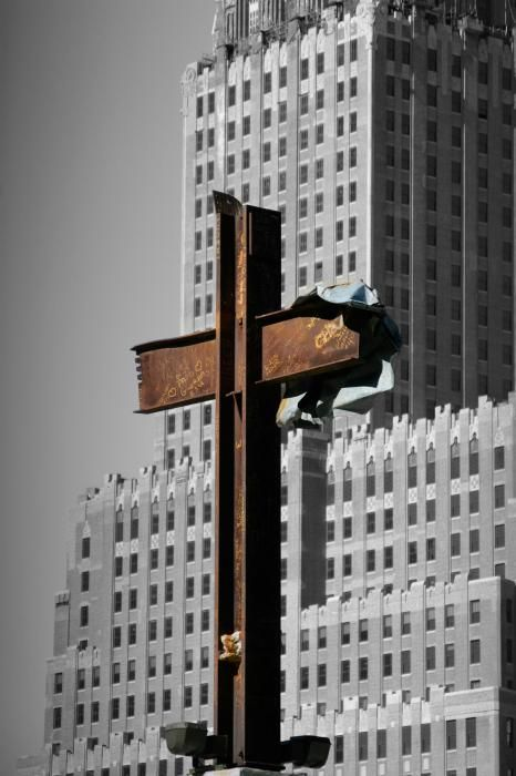 The intersecting steel beams were found in the rubble of buildings destroyed in the September 11 attacks on the World Trade Center. Atheists tried to sue to stop the display of the 9/11 cross at the NYC memorial.