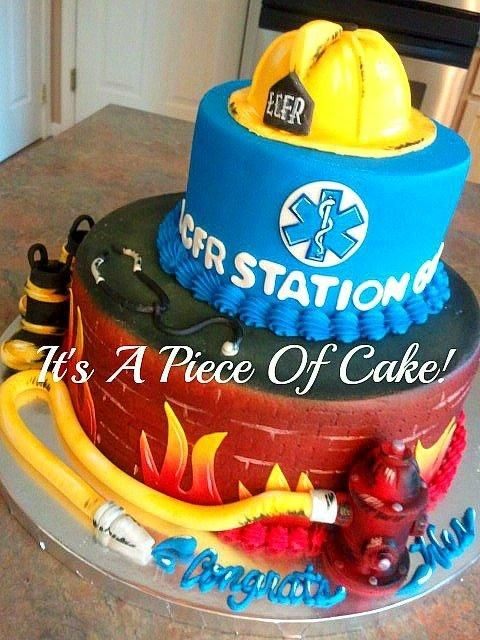 Firefighter/EMT Graduation Cake Buttercream Icing/Fondant Accents