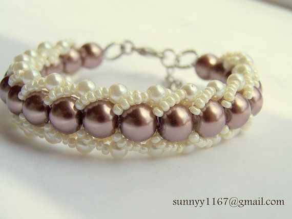 ARTBEADS Lovely coffee / brown cream beaded glass by Sunny1167, €19.99