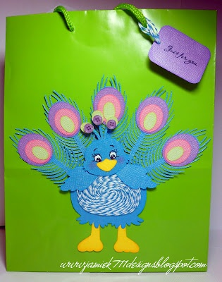 Jamiek711 Designs: Trendy Twine Tuesday - Peacock Gift Bag