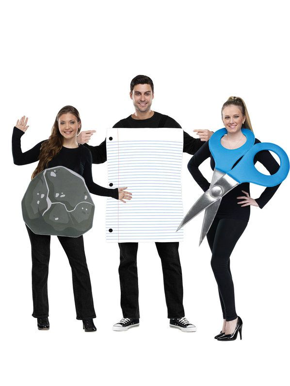 Check out Rock, Paper, Scissor Adult Costumes ( 3 costumes included) - Wholesale Groups Costumes from Wholesale Halloween Costumes