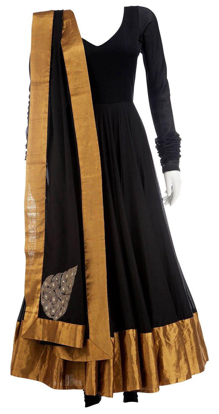 ANAMIKA KHANNA  Black silk Anarkali with gold border and churidar