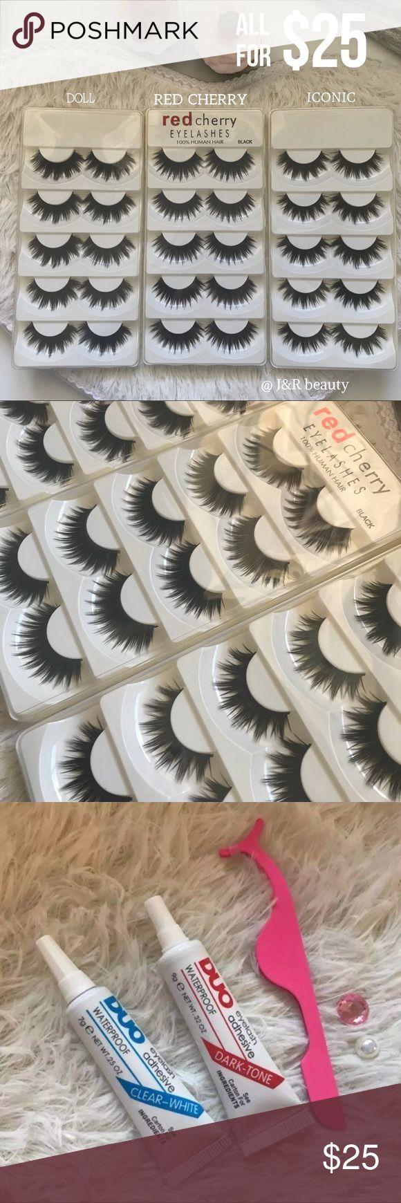 15 Pairs of Eyelashes # tags Iconic, mink, red cherry eyelashes, house of lashes, doll, kawaii, case, full, natural,  Koko, Ardell, wispies, Demi , makeup, mascara, eyelash applicator, tweezer, mink lashes Makeup False Eyelashes
