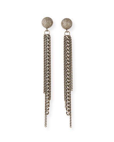 c07237c08 Diamond Dome Stud Chain Earrings   Products   Chain earrings ...