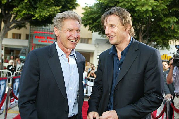 Harrison Ford and Liam Neeson at the premiere of 'K-19: The Widowmaker' at the Village Theatre in Westwood, Ca. Monday, July 15, 2002. Photo by Kevin Winter/ImageDirect.