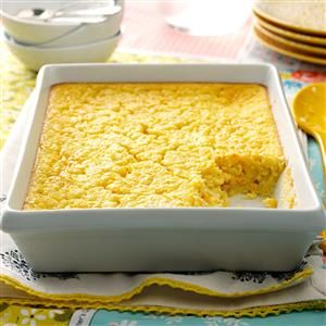 Corn Pudding Recipe -The pleasing flavor of this golden corn pudding side dish makes it real comfort food. And because the recipe calls for a packaged corn mix, it's easy to prepare. —P. Lauren Fay-Neri, Syracuse, New York