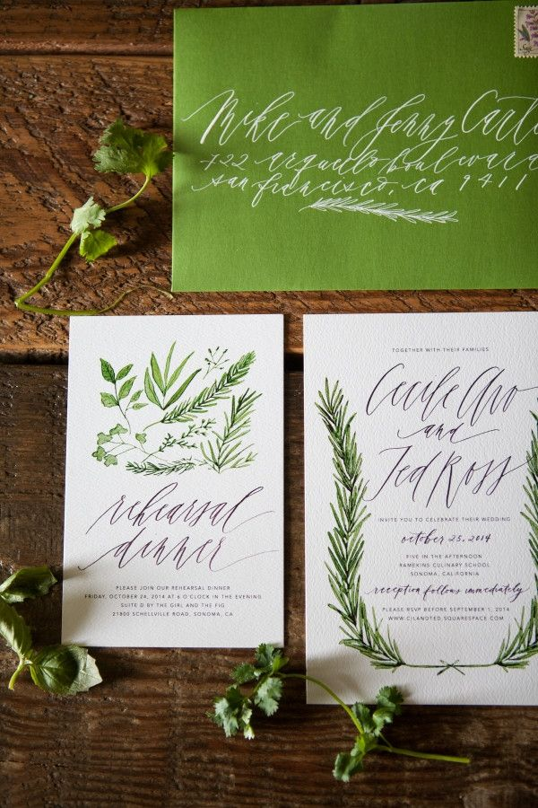 Herb-Inspired Invitations |  Written Word Calligraphy and Design http://boards.styleunveiled.com/pin/5290b66ff9e0c1115614365d8e20f10c
