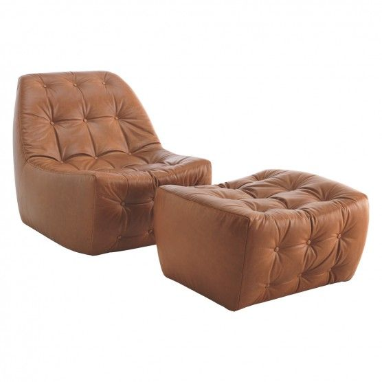TISNO mid tan leather footstool | Buy now at Habitat UK