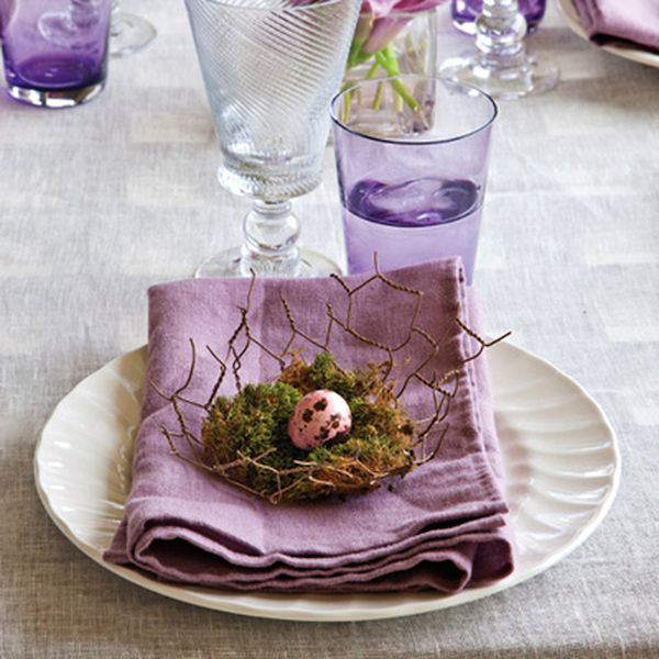 Lavendar Purple | Linen Tablecloth | Vintage Glass | Moss Nest | Easter Holiday | Spring Tablescape | Dinner Party | Centerpiece Ideas