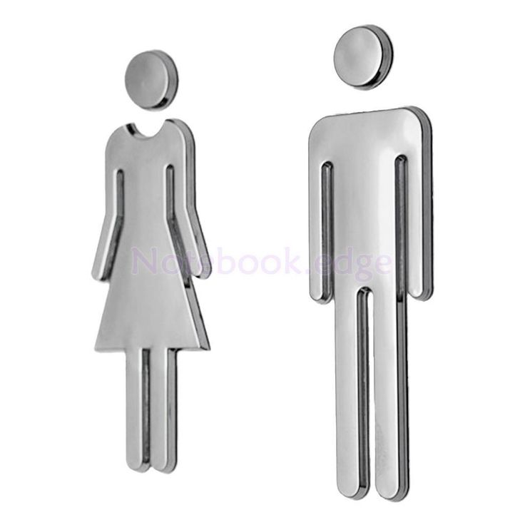 Toilet Seat Entrance Sign Plastic Sticker Art Bathroom Decals Deco Man&Woman