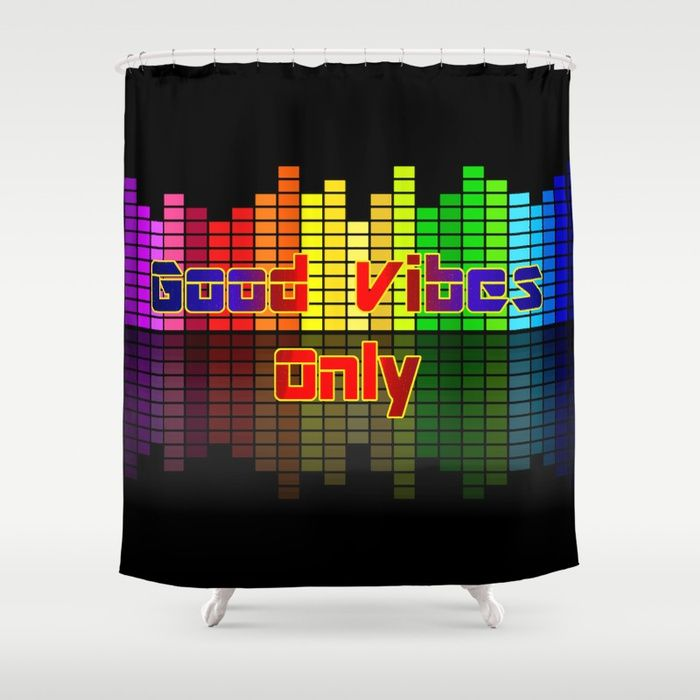 Good Vibes Only, positive vibration, music equalizer futuristic poster style, colorful vector design Customize your #bathroom decor with unique shower #curtains designed by artists around the world. Made from 100% polyester our designer shower curtains are printed in the USA and feature a 12 button-hole top for simple hanging. The easy care material allows for machine wash and dry maintenance. Curtain rod, shower curtain liner and hooks not included. Dimensions are 71in. by 74in. #society6…