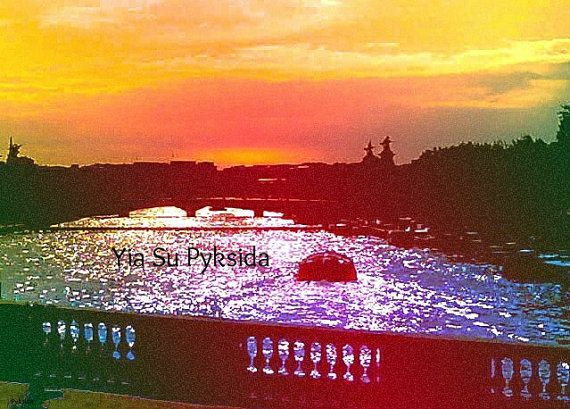 Instant Download 5jpg Paris The Seine Orange Blue by YiaSuPyksida, €0.15
