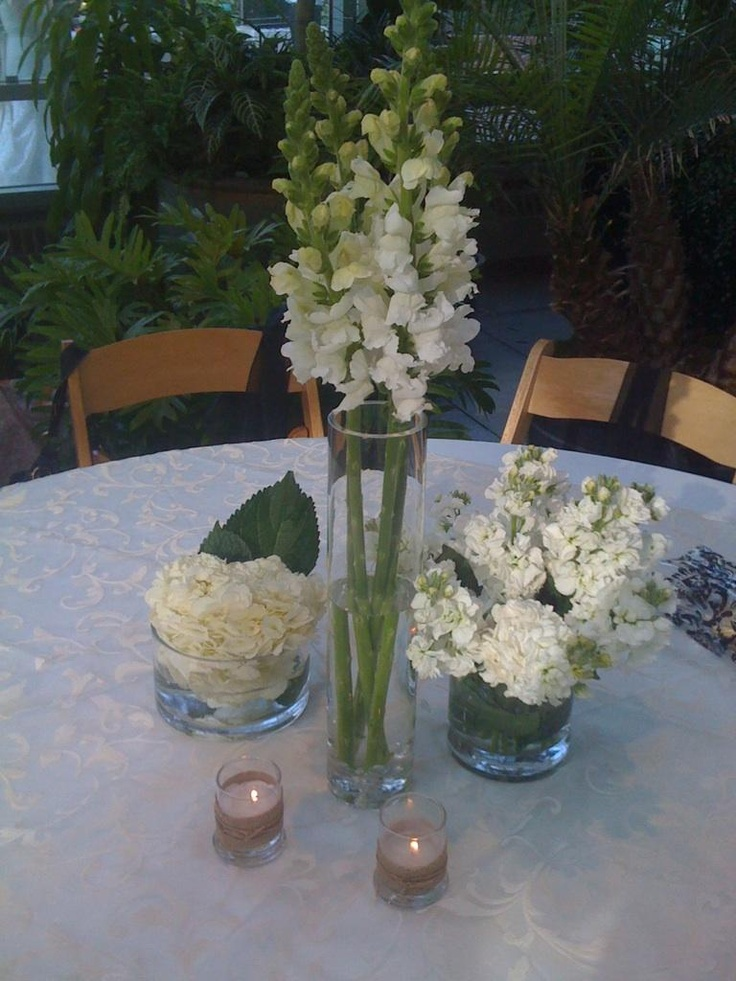 Wedding flowers white centerpieces snapdragons hydrangeas