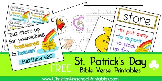 Free St. Patrick's Day Bible Printables: Bible Printables, Creative Holidays, Homeschool Printables, Homeschool Deals, Homeschool Holidays, St Patty, Christian Printables, Bible Verse