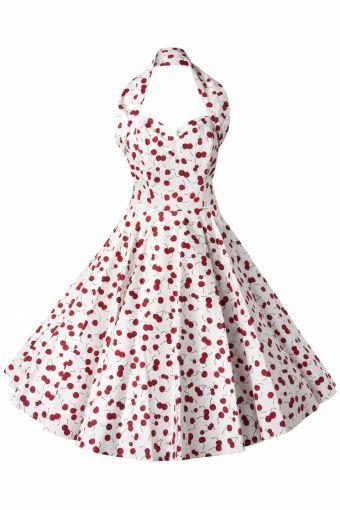 Vivien of Holloway - 1950s Retro halter Cherry White swing dress cotton sateen