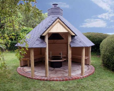 Outdoor Open Shelter With Barbeque Glamping Bbq Hut