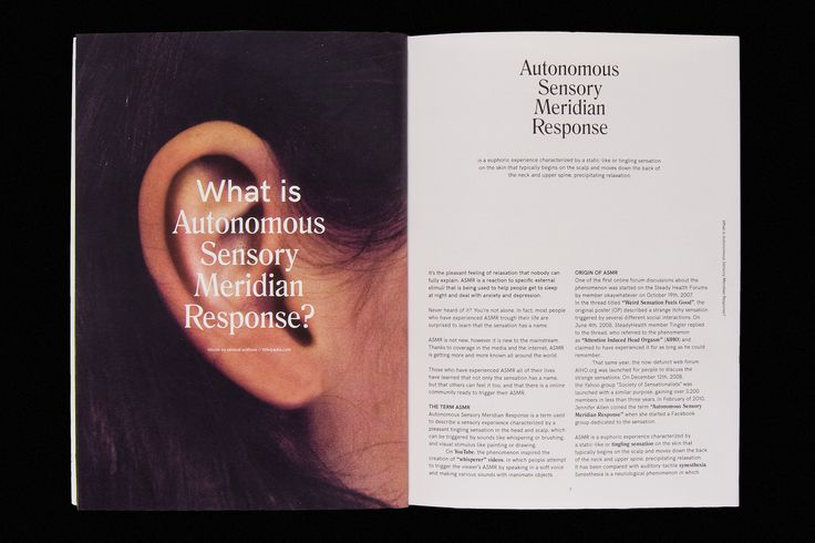 Magazine about how ASMR became more and more mainstream in 2016.