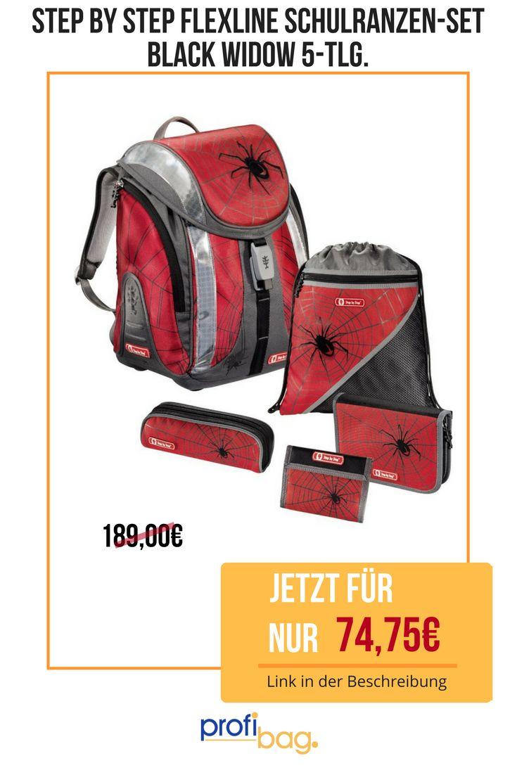 """Das """"Step by Step Flexline Schulranzen-Set Black Widow 5-tlg."""" jetzt um 60,45% reduziert für nur 74,75€!"""