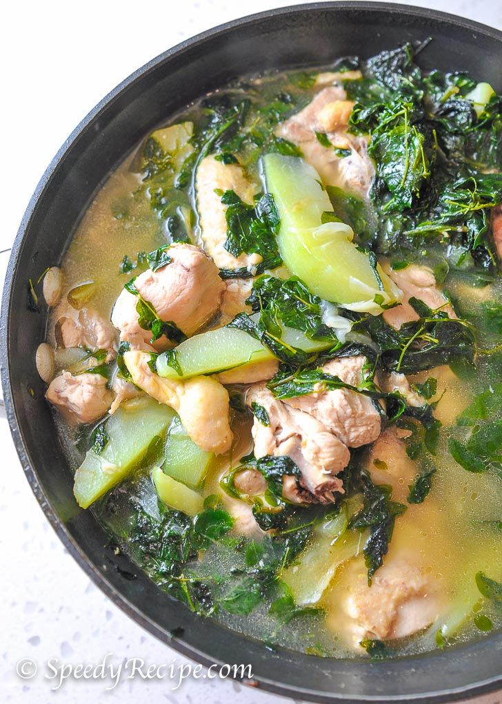Chicken Tinola - used 1 lb chicken breast, 3 chayote, 5 cups vegetable stock and 3 tbsp fish sauce. Delicious!