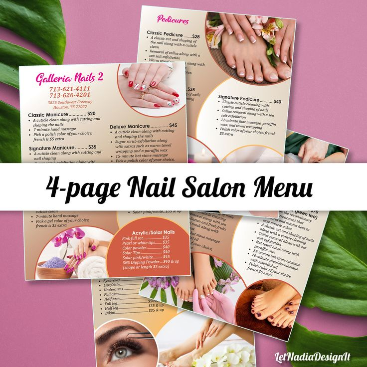 4page Nail Salon Menu Nail Salon Price List Pedicure