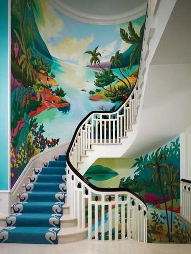 Interior designers William Diamond and Anthony Baratta designed the foyer's stairway runner, fabricated by Stark, to feature a white, woven border that emulates waves. The wall mural, painted by artist Eric Beare, serves as the designers' modern perception of Post-Impressionist painter Paul Gauguin.