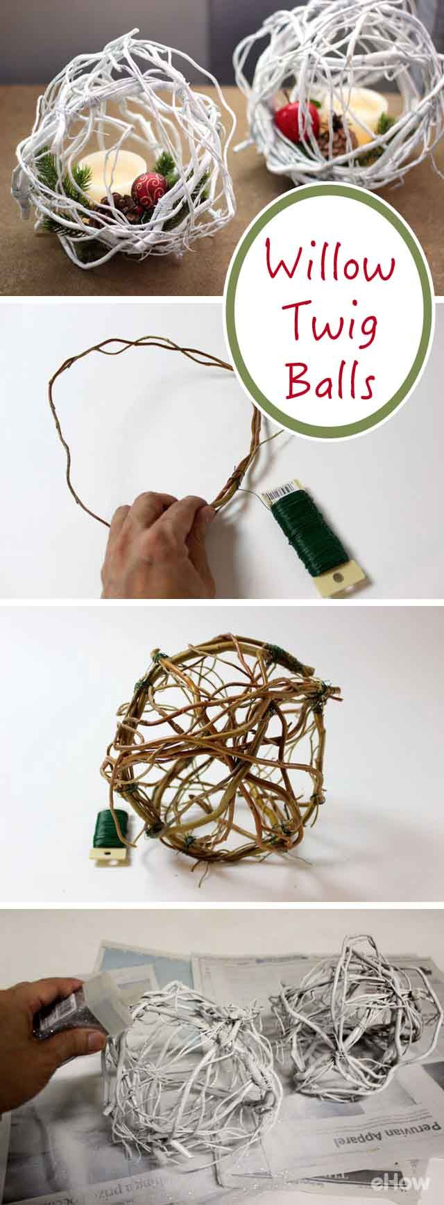 Bring the beauty of a white Christmas inside with these DIY willow twig balls! The curly willow branches are easy to work with because they are so flexible and you can twist them into any form. These are great for not just coffee table decor, but for hanging from the mantel or tree! http://www.ehow.com/how_12343001_diy-willow-twig-balls.html?utm_source=pinterest.com&utm_medium=referral&utm_content=freestyle&utm_campaign=fanpage