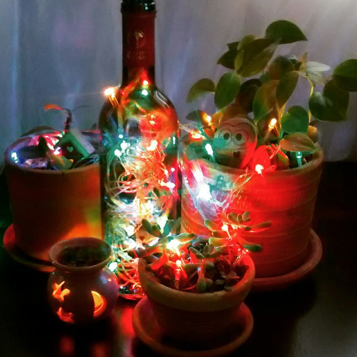 Ideas Navidad botella de vino con luces