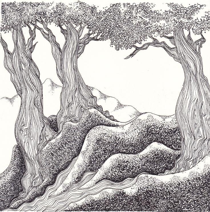 Sueño de octubre por Gerardo Arango B. Tinta china sobre papel.