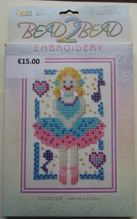 A personal favourite from my Etsy shop https://www.etsy.com/ie/listing/481354005/bead-2-bead-embroidery-kit-ballerina-age
