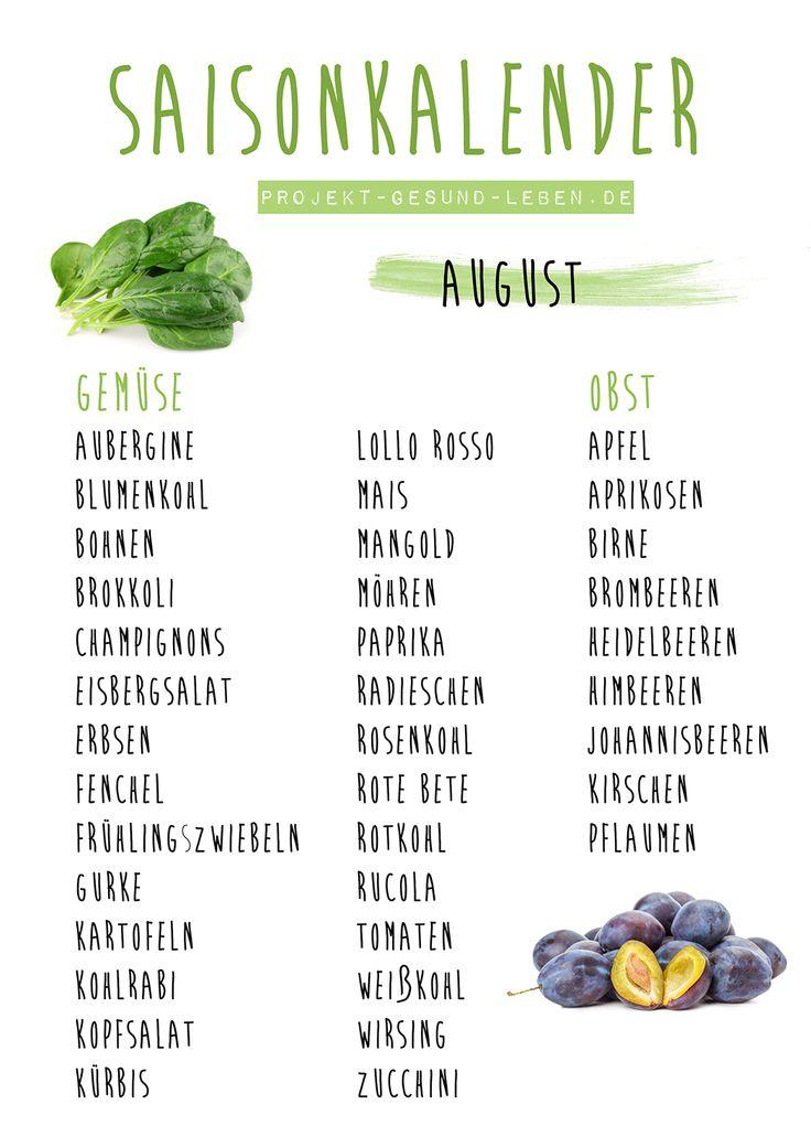 Saisonkalender August | Projekt: Gesund leben | Ernährung, Bewegung & Entspannung