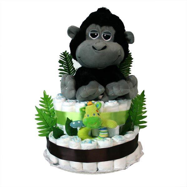 """Tarta pañales """"Safari Gorila"""", divertido regalo y muy práctico para sorprender a los nuevos padres."""