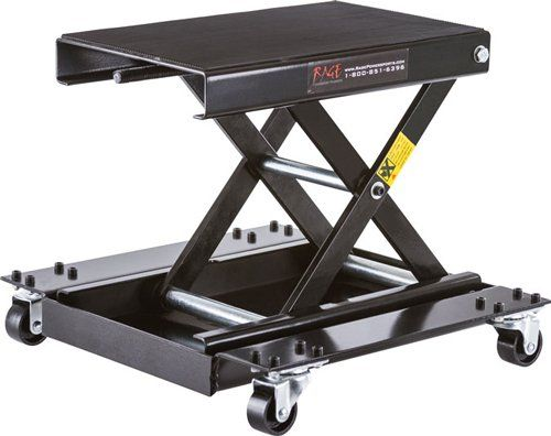 Black Widow Motorcycle Scissor Jack with Dolly Center lift for motorcycles, allows maneuverability and service access for maintenance. Maximum 1100 lb. capacity. Raises and lowers with a 7/8 socket or wrench. (4) Steel caster wheels bolt directly to dolly tray. Steel Construction with a black paint finish.  #RagePowersports #AutomotivePartsAndAccessories