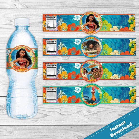 Moana Birthday Bottle Label Instant Download Moana Maui