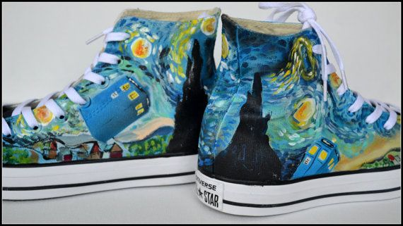 Painted DOCTOR WHO Shoes Custom Painted Mens by PricklyPaw on Etsy  URL : http://amzn.to/2nuvkL8 Discount Code : DNZ5275C