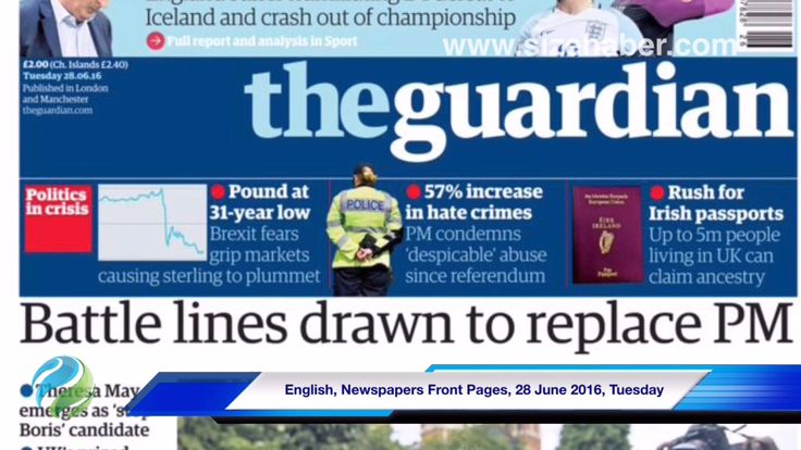 English, Newspapers Front Pages, 28 June 2016, Tuesday