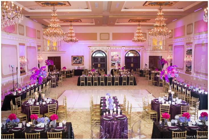 Decor by Creative Touch Events | wedding planners in Raleigh | Wedding venue in Raleigh | Grand Marquise Ballroom | purple and pink wedding decor | www.storyandrhythm.com