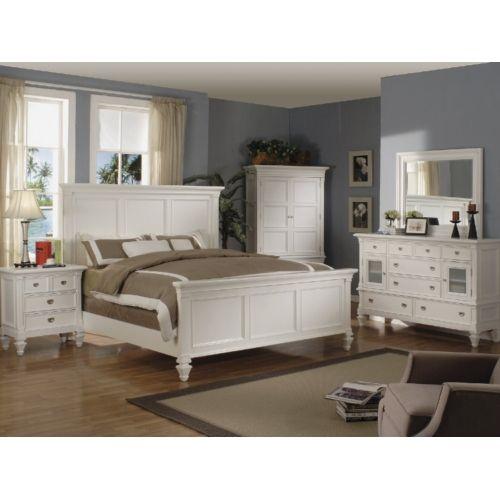 Summer Breeze White King Panel Bedroom Suite