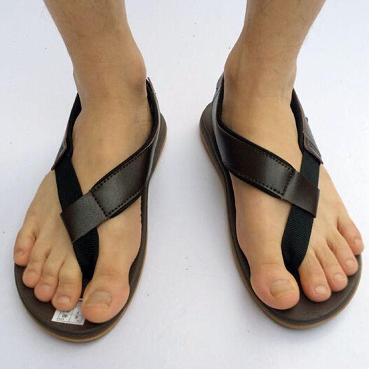 Aliexpress.com: Comprar Nuevo diseñador de verano 2016 hombre Casual talón  plano punta abierta Sandalias de cuero de la Pu Becah Flip Flop Shoes  mujeres ...