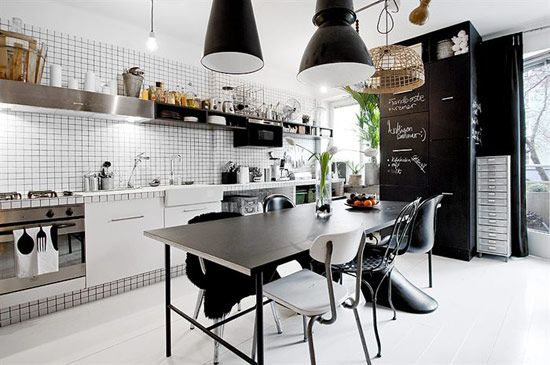 """It's hard to believe this jewel of an apartment is barely 420 square-feet. The whole studio was so cleverly planned that they were able to accommodate a living area, an eat-in kitchen, a cozy sleeping quarter and even a small home office—all done exquisitely with plenty of style. The use of black and white was key to giving the space a cohesive look and a feeling of continuity, which makes the pad seem more spacious that it actually is.""--THEDESIGNERPAD: Interior Design, Decor, Ideas, Industrial Kitchens, Black And White, Interiors, Apartment, Kitchen Designs, White Kitchens"