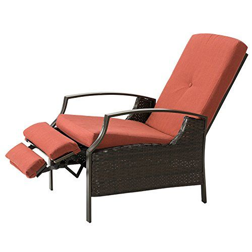 Marble Field Patio Wicker Adjustable Recliner Chair Relaxing Lounge Chair With Thick Spunpoly Cushion Water Resistant Red Chair Recliner Patio Furniture Covers